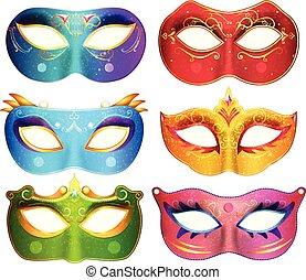 カーニバル, 仮面舞踏会, イラスト, 顔, ベクトル, コレクション, マスク, パーティー