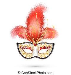 カーニバル, 羽, マスク, 装飾, 現実的, きらめき, 銀, 赤