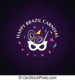 カーニバル, festival., 紫色, マスク, 活版印刷, 暗い背景, ブラジル人, 白, 幸せ