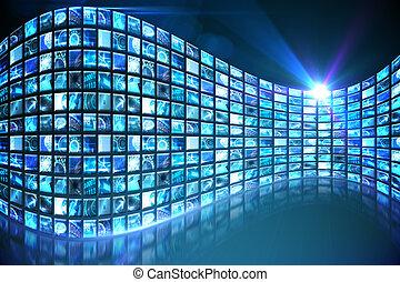 カーブ, の, デジタル, スクリーン, 中に, 青