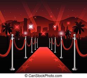 カーペット, 優雅である, 背景, 映画 プリミア, 赤, でき事, ハリウッド