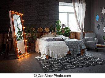 カーペット, 暮らし, 保温カバー, 肘掛け椅子, 壁, ダブル・ベッド, パターン, 植物, 緑, 屋根裏, 流行, 幾何学的, 部屋