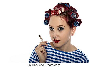カーラー, lady., スペース, たばこを吸う, funy, 主婦, 自由の壊れ目, テキスト, 喫煙, セクシー, cigarette., あなたの