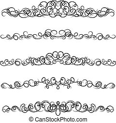 カールされた, デザインを設定しなさい, elements., calligraphic
