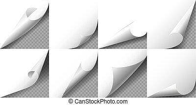 カールされた, ページ, ベクトル, ペーパー, set., illustration., コーナー