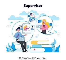 ガイドをする, スーパーバイザー, concept., 従業員, マネージャー, ∥(彼・それ)ら∥, 専門家