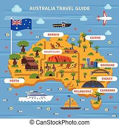 ガイド, オーストラリア, イラスト, 旅行