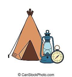 ガイド, 灯油, テント, ランプ, コンパス