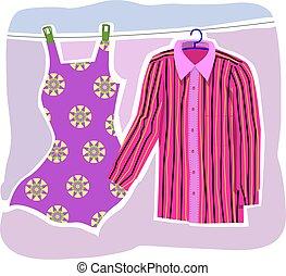 ガウン, ワイシャツ, 衣類, 線