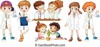 ガウン, 女の子, 男の子, 科学