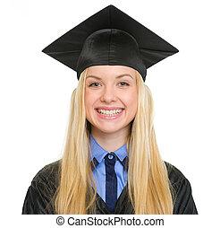 ガウン, 女, 若い, 卒業, 肖像画, 微笑