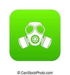 ガスマスク, 化学物質, 緑, デジタル, アイコン