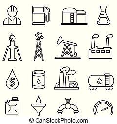 ガス, アイコン, オイル, 石油, エネルギー, ボーリングする, 線