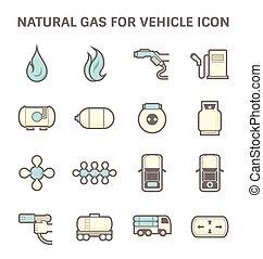 ガス, アイコン, 自然
