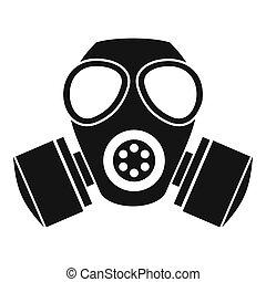 ガス, スタイル, アイコン, 化学物質, 単純である, マスク