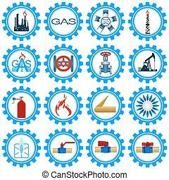 ガス, 産業, 生産, セット, アイコン