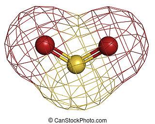 ガス, so2), 二酸化物, model., 二酸化物, 硫黄, 分子, (sulphur