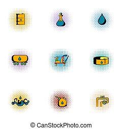 ガソリン, スタイル, pop-art, セット, アイコン