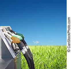 ガソリン, 環境, 概念, きれいにしなさい