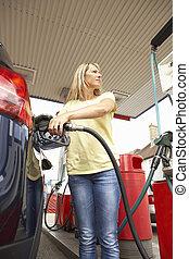 ガソリン, 自動車, ディーゼル, ガソリンスタンド, モトリスト, 女性