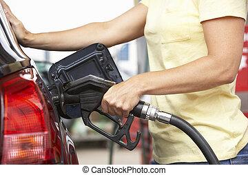 ガソリン, 自動車, ディーゼル, 細部, ガソリンスタンド, モトリスト, 女性