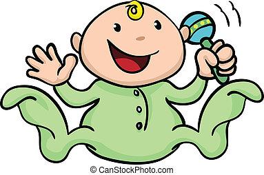 ガラガラ, かわいい, 幸せ, 遊び, 赤ん坊