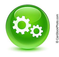 ガラス状, プロセス, ボタン, 緑, ラウンド, アイコン