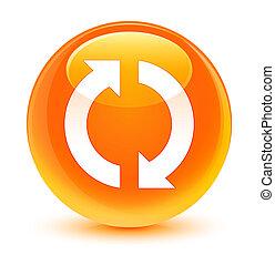 ガラス状, ボタン, 更新, オレンジ, ラウンド, アイコン