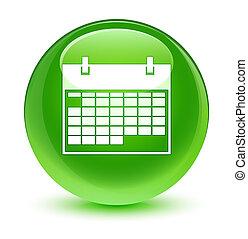 ガラス状, ボタン, 緑, カレンダー, ラウンド, アイコン