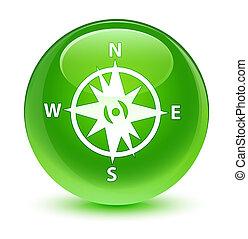 ガラス状, ボタン, 緑, コンパス, ラウンド, アイコン