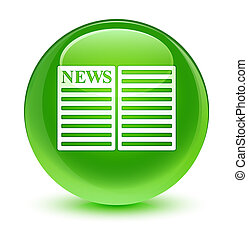 ガラス状, ボタン, 緑, 新聞, ラウンド, アイコン