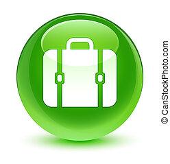 ガラス状, ボタン, 袋, 緑, ラウンド, アイコン