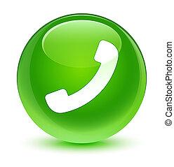 ガラス状, ボタン, 電話, 緑, ラウンド, アイコン