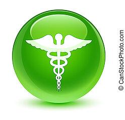 ガラス状, 医学, ラウンド, 緑, ボタン, アイコン