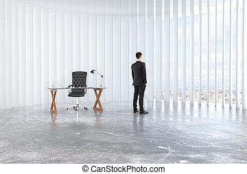 ガラス状, 屋根裏, 床, 革, コンクリート, 窓, 空, 顔つき, ビジネスマン, 椅子, から, テーブル, 部屋