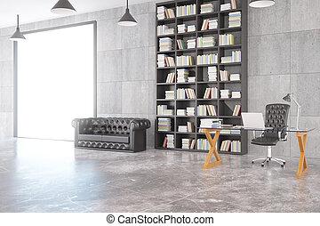 ガラス状, 屋根裏, render, 部屋, 大きい, 床, ソファー, コンクリート, 窓, 本棚, chesterfield, テーブル, 3d