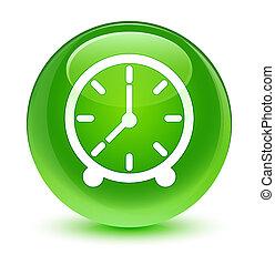 ガラス状, 時計, ボタン, 緑, ラウンド, アイコン