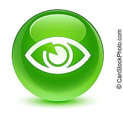 ガラス状, 目, ボタン, 緑, ラウンド, アイコン
