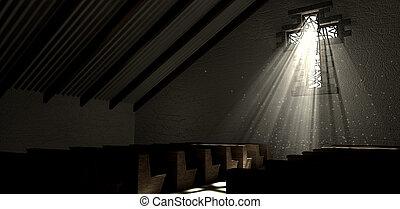 ガラス窓, 汚された, 十字架像, 教会