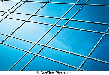 ガラス窓, 空, 反射, 曇り