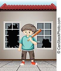 ガラス窓, 衝突, ひどく, 子供