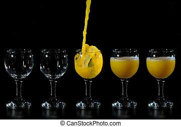 ガラス, いっぱいになる, ジュース
