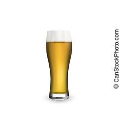 ガラス, の上, 隔離された, 現実的, ビール, 背景, 終わり, 白