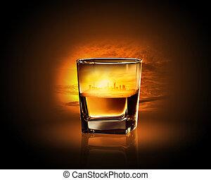 ガラス, の, ウイスキー