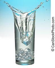 ガラス, はねかけること, 立方体, 氷
