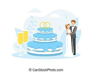 ガラス, イラスト, 平ら, 巨大, ただ, ベクトル, 2, 地位, 結婚式の カップル, 次に, ケーキ, 結婚されている, シャンペン