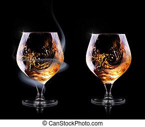 ガラス, コニャック, 覆われた, 煙