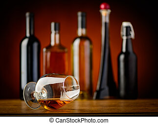 ガラス, コニャック, 飲み物