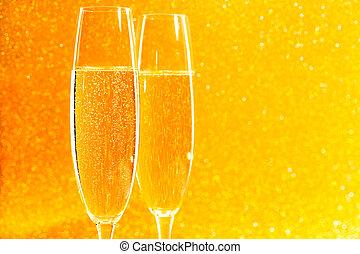 ガラス, シャンペン, 光っていること, 2, 金, バックグラウンド。