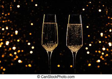 ガラス, シャンペン, 背景, 黒